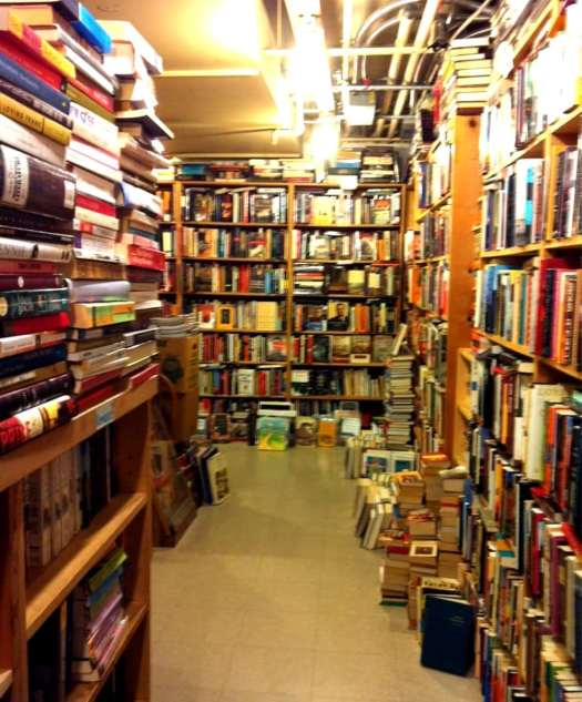 Photo of interior of BLMF Literary Saloon bookstore in Seattle.