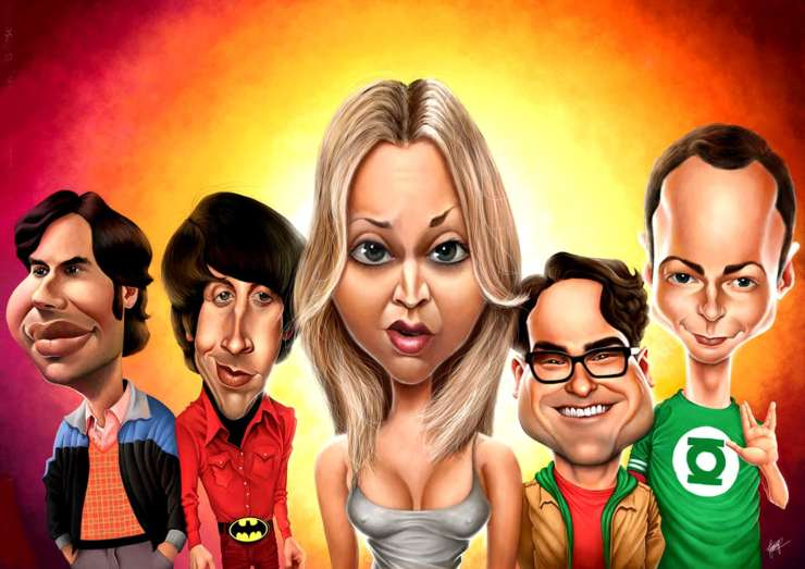 Geek Brothers: caricature of the five main characters of THE BIG BANG THEORY.