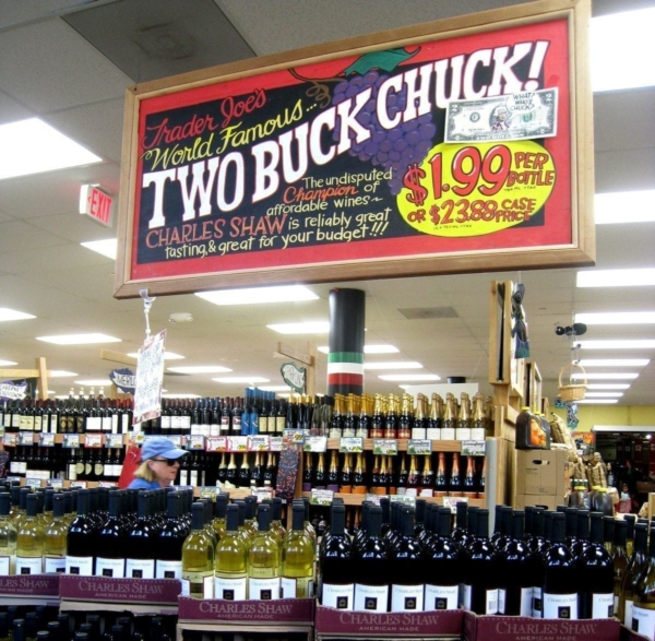 Snobs: photo of interior of Trader Joe's store with marquee for Two Buck Chuck wine.