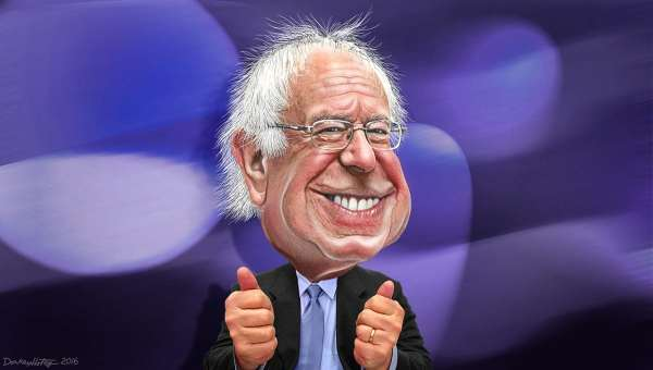 Another Take: caricature of Bernie sanders by Donkey Hotey.