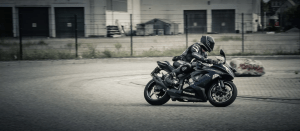 a person riding a motorbike
