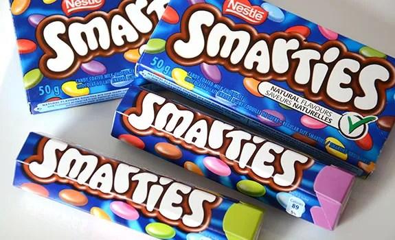 U.K. vs. Canadian Smarties candy