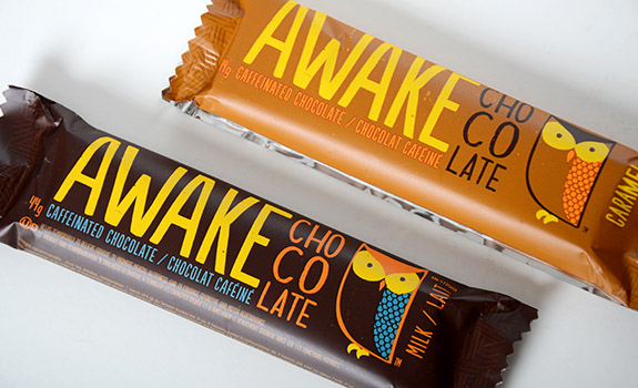 The two available flavours of Awake caffeinated chocolate bars. Take your pick of milk chocolate or caramel. It's nice to have a choice.