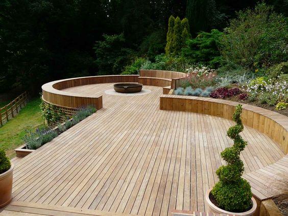 round elevated wooden deck