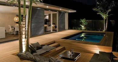 wooden deck with pool-modern style