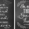 "Download for free these four 8"" x 10"" Thanksgiving chalkboard art printables."