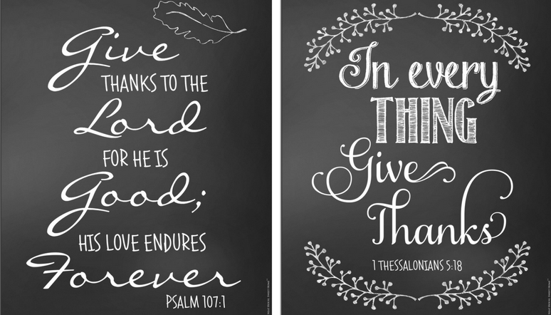 """Download for free these four 8"""" x 10"""" Thanksgiving chalkboard art printables."""