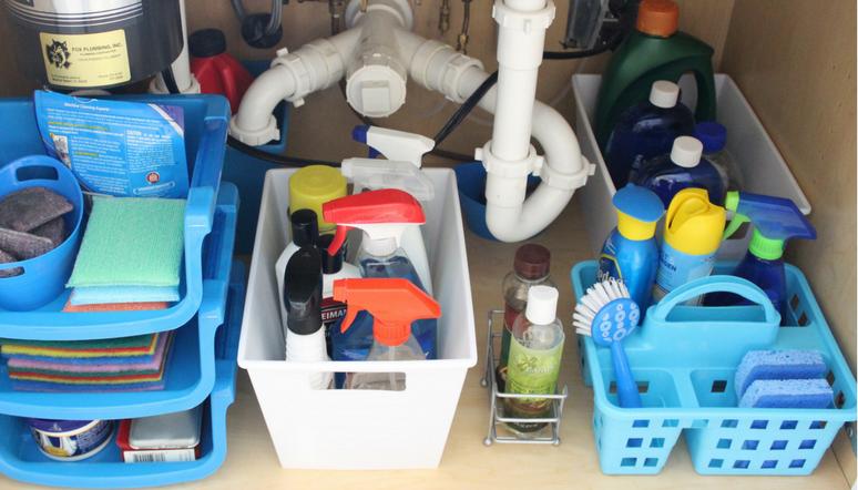 Under the Kitchen Sink Organization u2013 Week 6 & How to Organize Under the Kitchen Sink with Dollar Store Bins