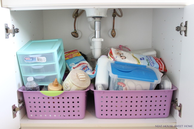 This bathroom cabinet organization was fast, easy and inexpensive.