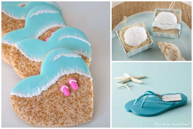 Beach themed bridal shower for the summer! How cute are the cookies with the pink flip flops!