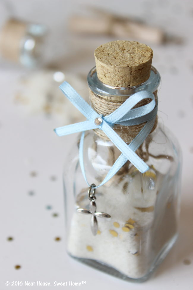 Baptism Favors In A Glass Jar With Cork Footprints In The Sand Poem