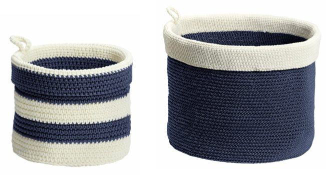 White and blue striped hand knitted baskets - Azure Laundry Room Design Board