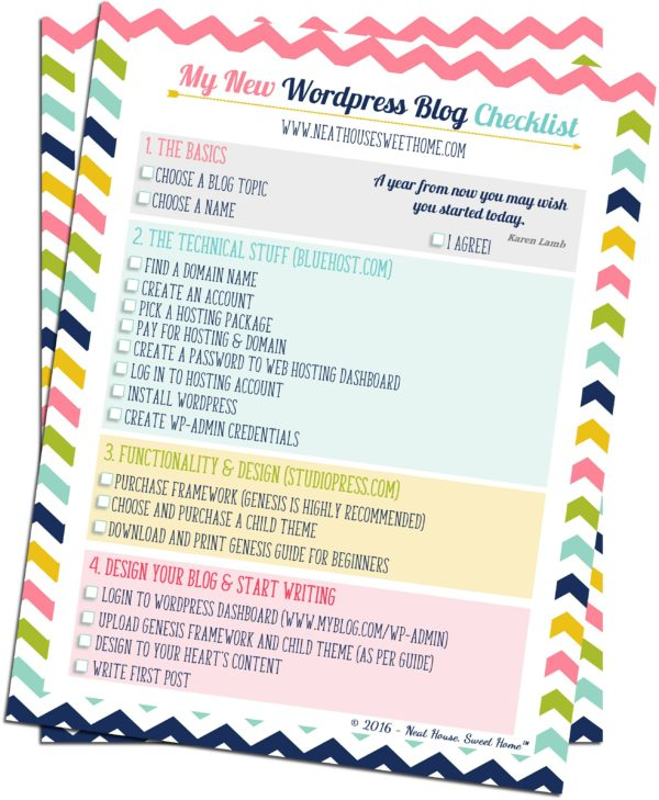 How to Start a Self-Hosted WordPress Blog | A short step-by-step guide to get you on your way to blogging success. And a free printable checklist!