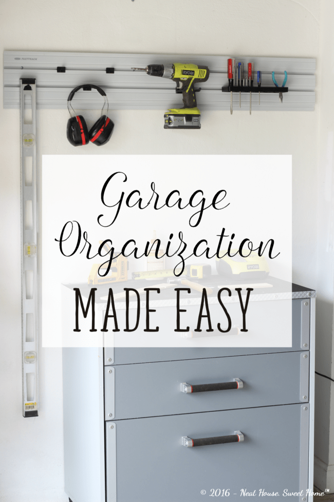 How to organize your garage in a weekend. Using vertical storage in garage walls. Clean up your garage with Rubbermaid® FastTrack® Garage Organization System. #GarageCleanUp #ad