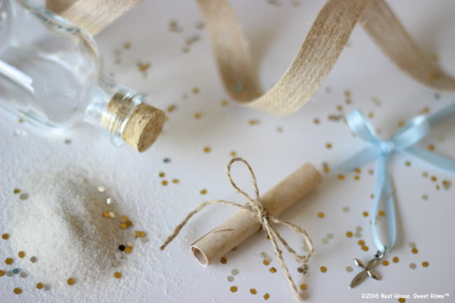 DIY Footprints in the Sand Baptism Favors   An excerpt of this beautiful prayer is tucked inside these miniature glass jars. This is a beautiful keepsake for Baptism, Dedication, and First Communion.