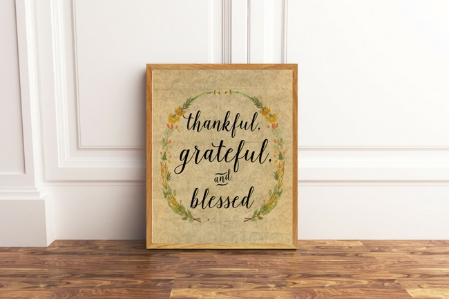 Thankful, Grateful and Blessed Fall Sign - Instant Download