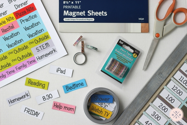 Teach your kids time management with this quick and inexpensive DIY magnetic board schedule. Print at home on magnetic sheets and get organized today!