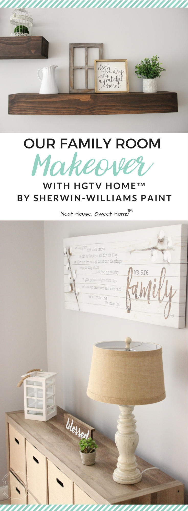 This family room makeover was a breeze to pull off. I used HGTV HOME™ by Sherwin-Williams INFINITY Interior Paint and Primer in Grayish (HGSW2447). @HGTVHOMEbySW #HGTVHOMEbySW #Sponsored