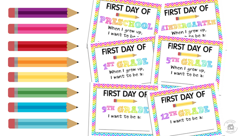 First Day of School Signs - PreK to 12th Grade | Free Printables