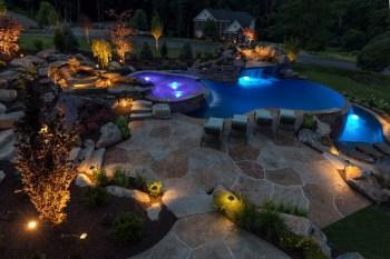 ambient blue-purple lighting in luxury pool