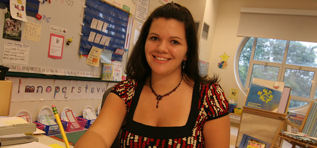 Student teacher in an early childhood education classroom