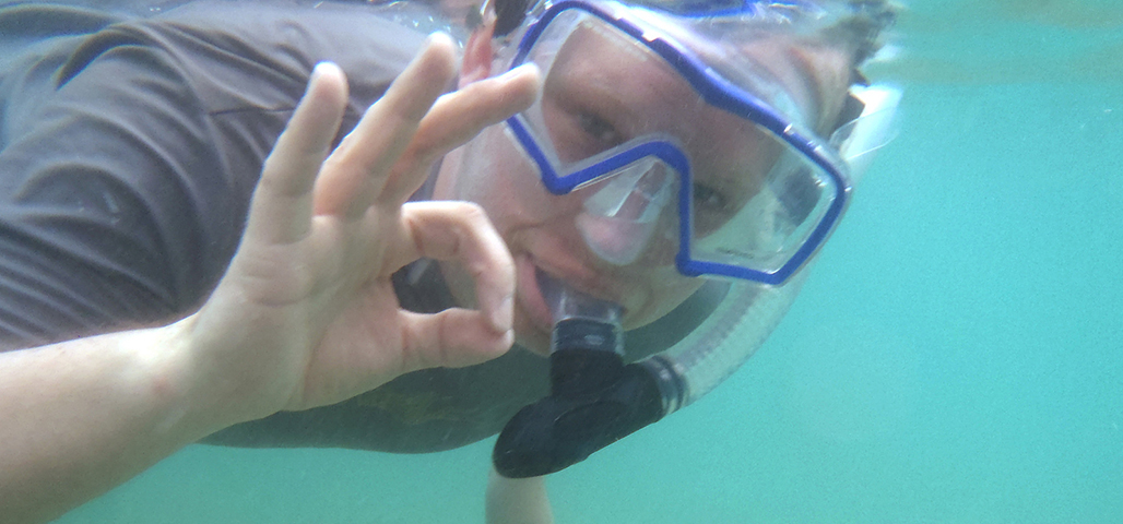 A diver signs OK from under water.