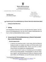 Auswertung Kriminalitätsbelastung Neckarstadt-West. Stand: 18.02.2016 | Quelle: Bürgerinformationssystem der Stadt Mannheim