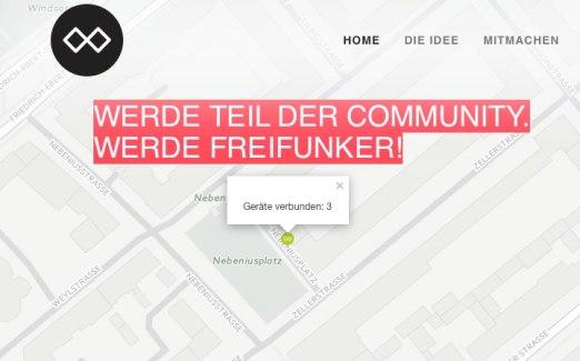 An einem Montagabend nutzen drei Geräte das freie WLAN des Bürgercafés | Screenshot: Webseite FFRN