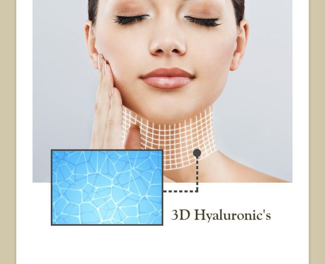ヒアルロン酸が網目状につながった立体的な構造を持つ3Dヒアルロン酸。首にミストした瞬間にネット状に首に張り付き、未体験のハリを出します。