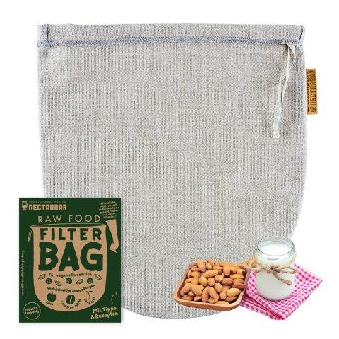 Filterbeutel mit Verpackung und Nussmilch von Nectarbar aus Leinen
