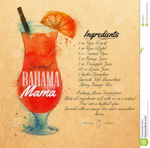 bahama-mama-cocktails-watercolor-kraft-drawn-blots-stains-spray-including-recipes-ingredients-background-42498700