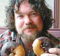 Sunnymoon double donut, half-chocolate, half-vanilla