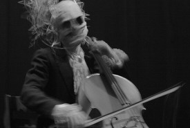 The Procession of the Ghouls cellist from the Cathedral of St. John the Divine in New York City
