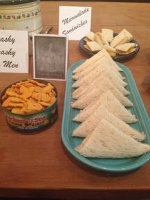 The Mermaid: tuna salad sandwiches and Goldfish crackers (served in the tuna fish can--nice touch)