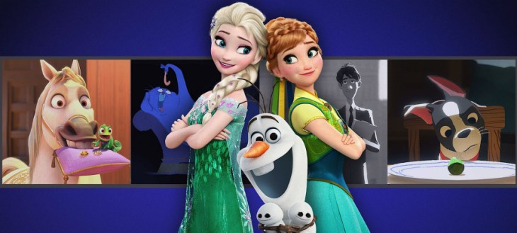 Elsa and Anna from Frozen: Disney Short Films Collection Blu-Ray