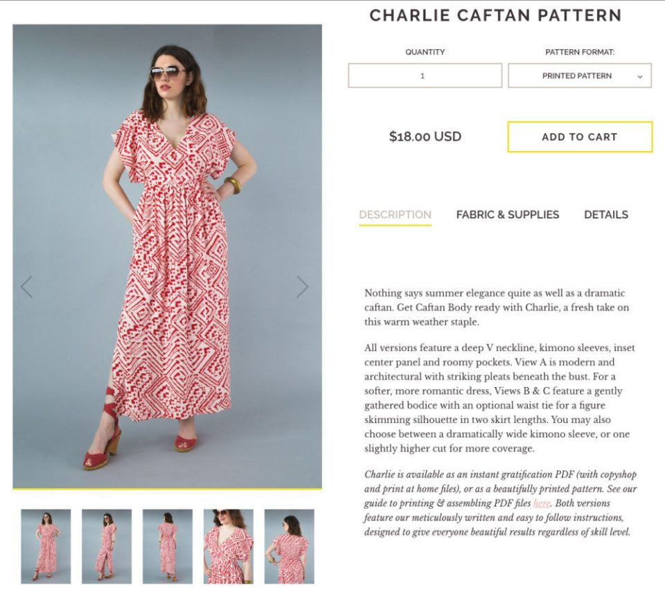 Charlie Caftan Pattern is easy and a perfect dress for all