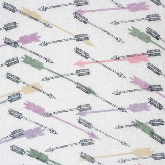 Colorful Arrows on White Hacci Sweater Knit Fabric
