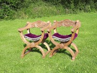Curule Chairs - lovingly restored, Designers Guild purple velvet saddle seats