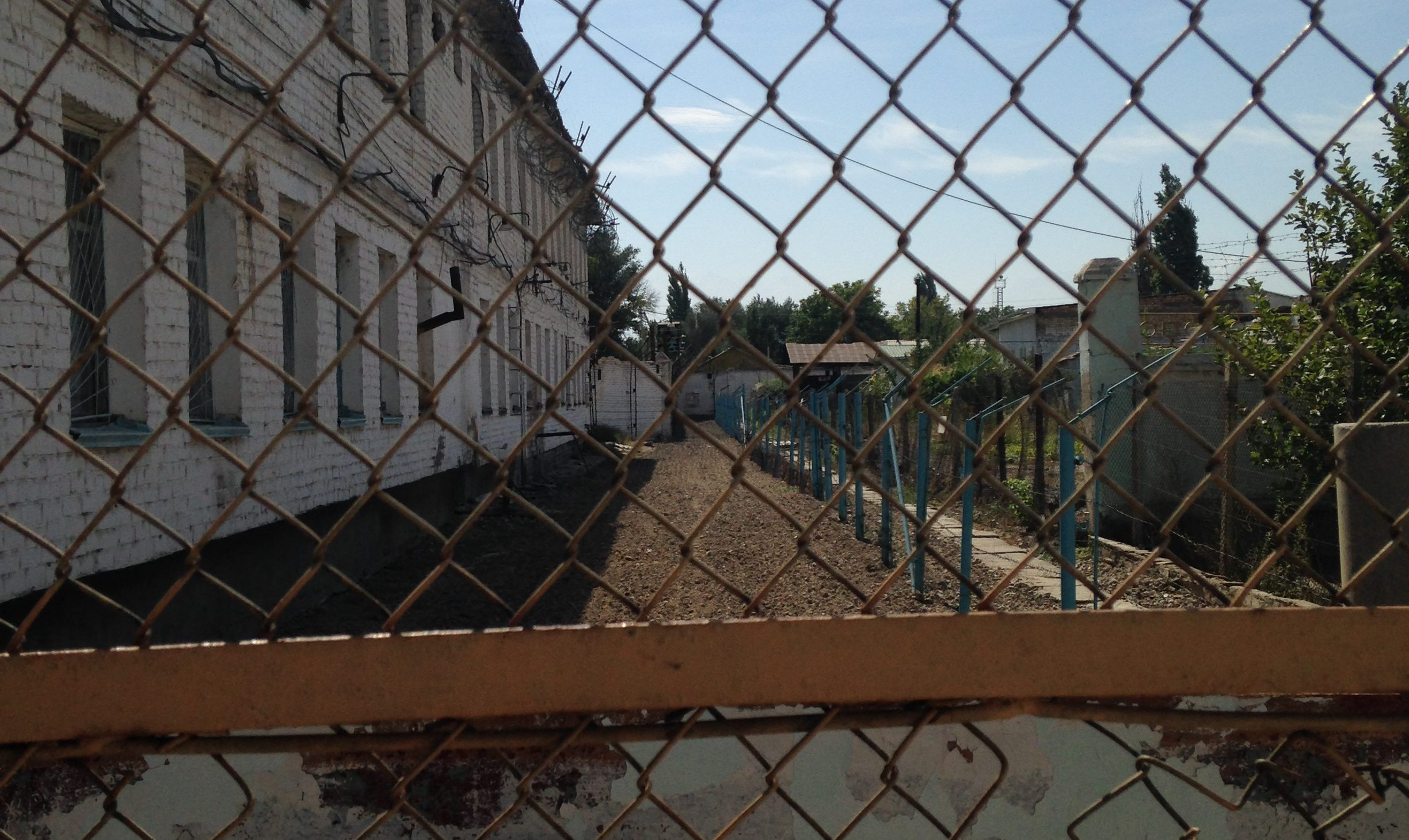 a photo of a bleak yard through chain link fence