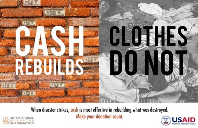"Image that says ""cash rebuilds, clothes do not"""
