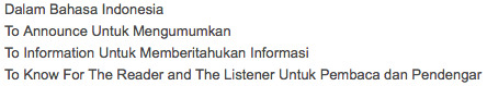 pengertian dari announcement text dalam bahasa indonesia dan inggris