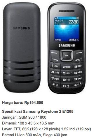 Samsung Keystone 2 E1205 harga hp dibawah 400 ribu lengkap
