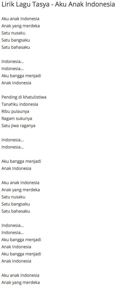 Lirik Lagu Tasya Aku Anak Indonesia