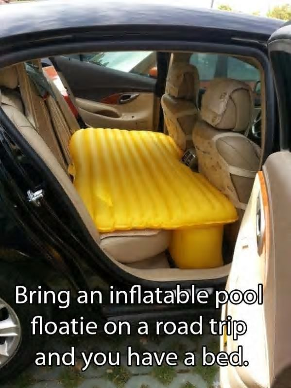 bed in a car