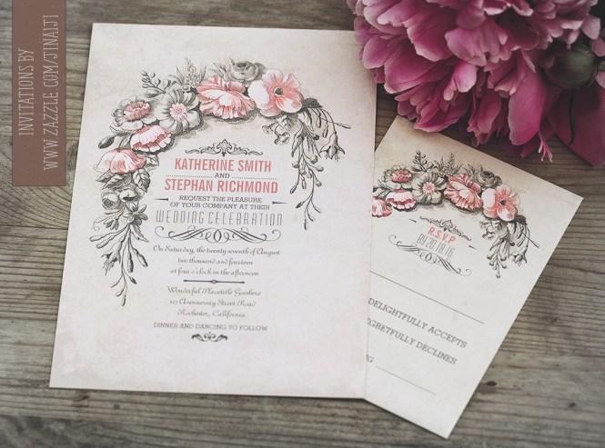 White Vintage Confetti Wedding Invitation
