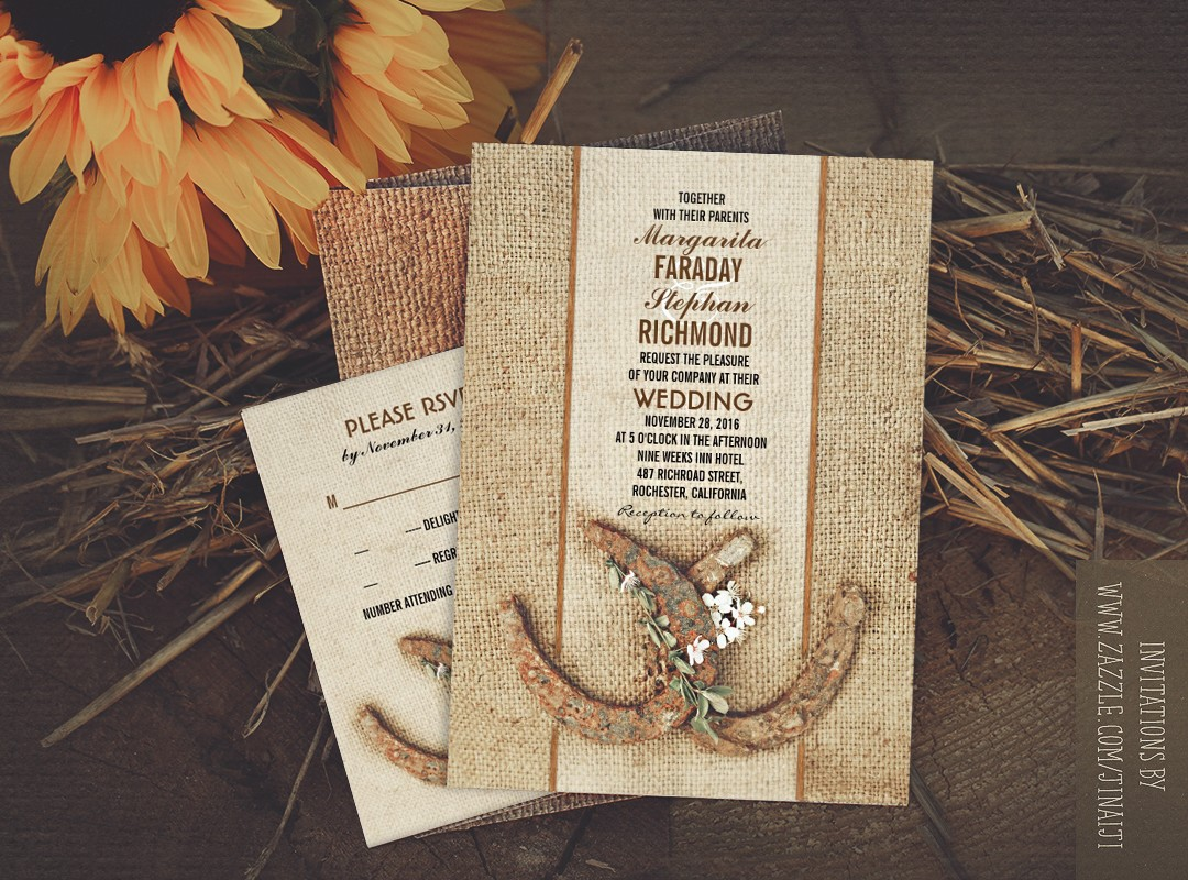 Rustic Country Themed Wedding Invitations