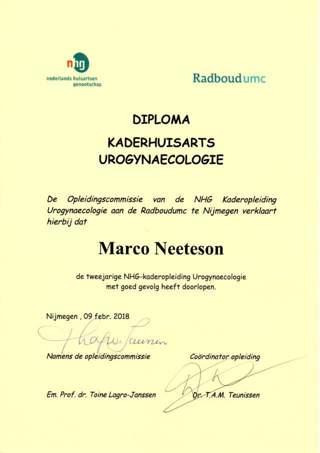 Diploma kaderhuisarts urogynaecologie