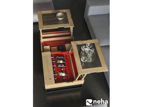 table avec plateau relevable rangement
