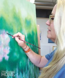 The artist at work on Verdant Blush; Staccato (2011)