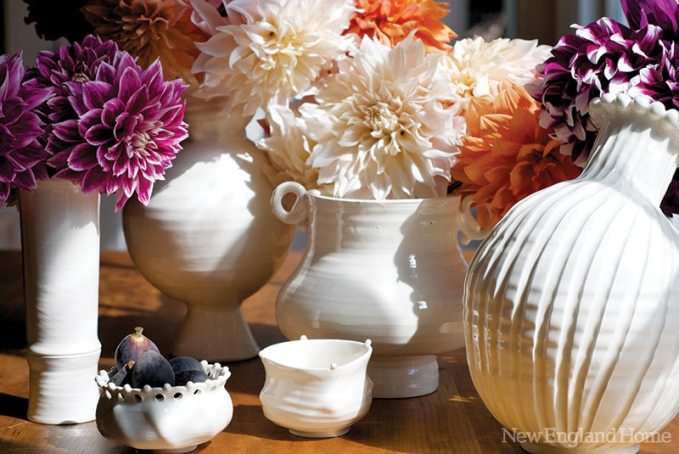 A selection of iconic pots by Frances Palmer, circa 2009. All are made of white earthenware.